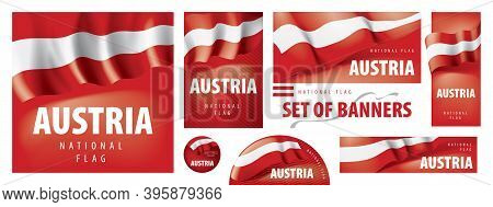 Vector Set Of Banners With The National Flag Of The Austria