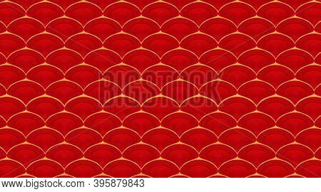Red Ornamental Orient Wavy Background. Traditional Japanese Or Chinese Style, Pattern. Fish Scales O