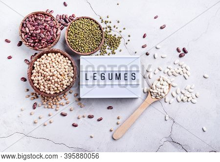 Various Dried Legumes With Lightbox With The Text Legumes Top View Flat Lay