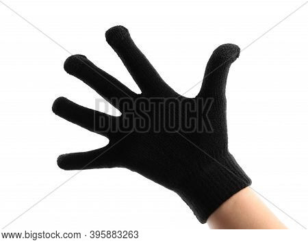 Woman In Black Woolen Glove On White Background, Closeup. Winter Clothes