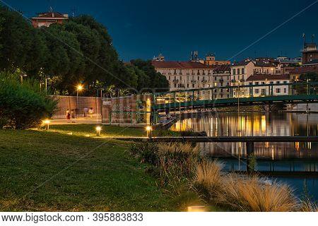Colorful, Stunning Milan Dockyard, Darsena Di Milano Area During The Night. Long Exposure Photograph