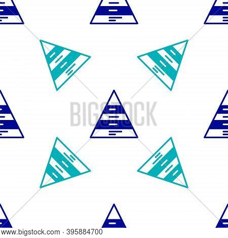 Blue Business Pyramid Chart Infographics Icon Isolated Seamless Pattern On White Background. Pyramid