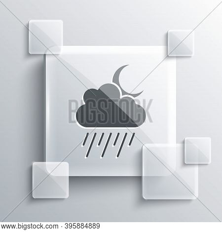 Grey Cloud With Rain And Moon Icon Isolated On Grey Background. Rain Cloud Precipitation With Rain D