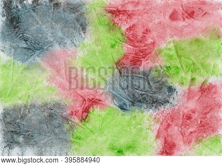 Hand Painted Watercolor Painting With Color Blots And Foil Printing In Dark Blue, Red And Green