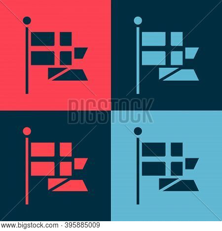 Pop Art Flag Of England On Flagpole Icon Isolated On Color Background. Vector