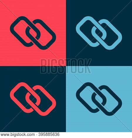 Pop Art Chain Link Icon Isolated On Color Background. Link Single. Hyperlink Chain Symbol. Vector