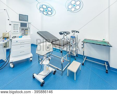 Gynecological Room With Chair And Equipment. Modern Gynecological Office Interior