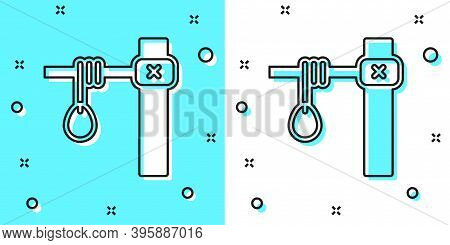 Black Line Gallows Rope Loop Hanging Icon Isolated On Green And White Background. Rope Tied Into Noo