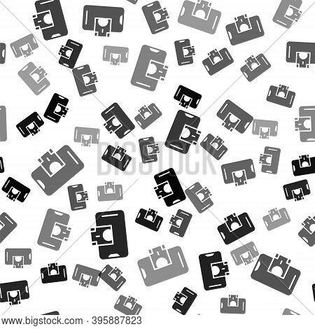 Black Mobile Banking Icon Isolated Seamless Pattern On White Background. Transfer Money Through Mobi