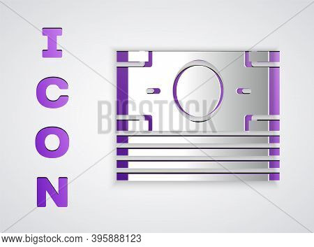 Paper Cut Stacks Paper Money Cash Icon Isolated On Grey Background. Money Banknotes Stacks. Bill Cur