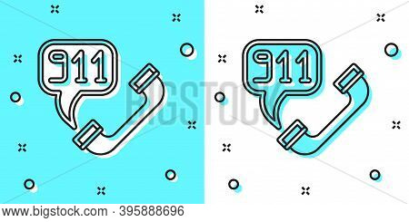 Black Line Telephone With Emergency Call 911 Icon Isolated On Green And White Background. Police, Am