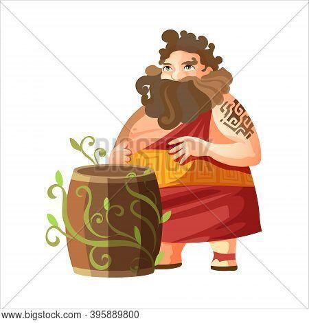 Dionysus, Ancient Greek God Of Wine. Ancient Greece Mythology. Fat Man With A Barrel Of Wine. Flat V