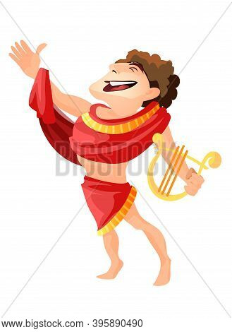 Greek Or Roman God Of Archery Music And Dance. Apollo Vector Isolated, Male Character With Harp Myth