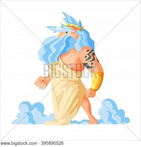 Greek God And Goddess Vector Illustration Series, Zeus, The Father Of Gods And Men. Epic Old Man Wit