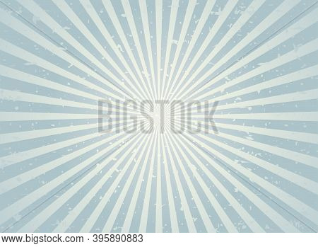 Sunlight Retro Faded Grunge Background. Silver Grey Color Burst Background. Vector Illustration.
