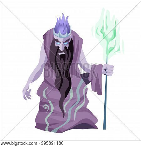 Hades Flat Vector Illustration. Ancient Greek Deity. God Of Death. Ruler Of Underworld. Divine Mytho