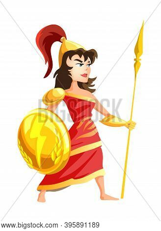 Athena Greek Goddess From Ancient Mythology. Female Character With Spear In Armor. Woman With Great