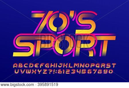 70s Sport Alphabet Font. Speed Effect Letters And Numbers. Stock Vector Typescript For Your Design.