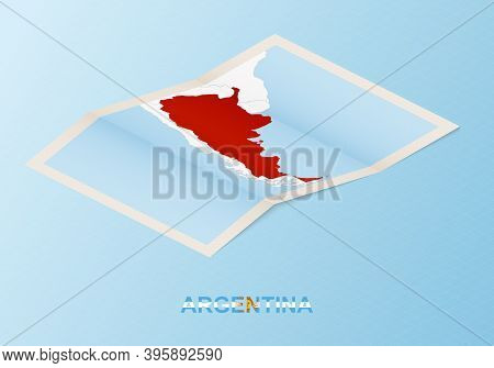 Folded Paper Map Of Argentina With Neighboring Countries In Isometric Style On Blue Vector Backgroun