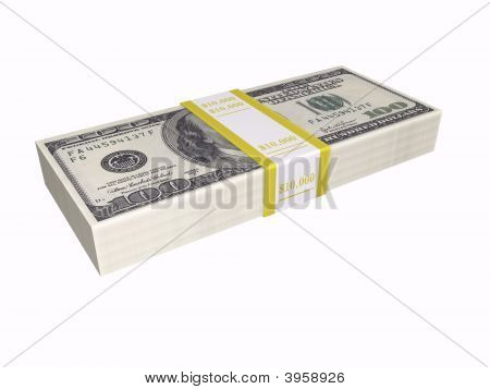 Stacked Cash On White Background