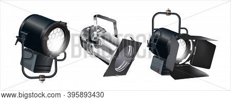 Set Of Realistic Vector Floodlights, Soffits, Studio Lights. Professional Shooting Light, Studio Pro