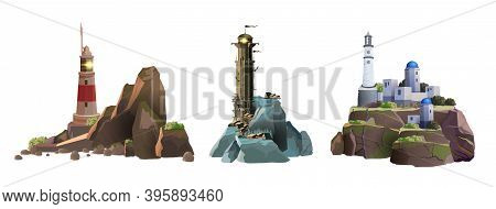 Set Of Vector Lighthouse Towers On The Different Islands. Simple, Greek And Epic Stylish Lighthouses
