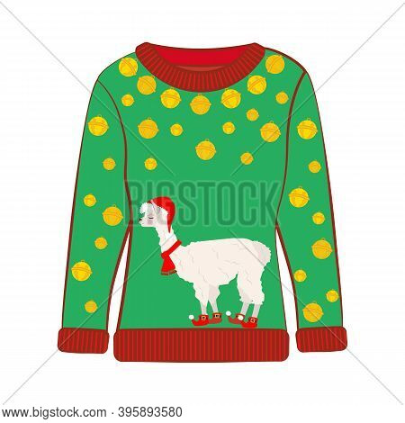 Christmas Party Ugly Sweater With Llama Vector Illustration