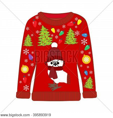 Christmas Ugly Sweater With Owl In Christmas Costume Vector Illustration