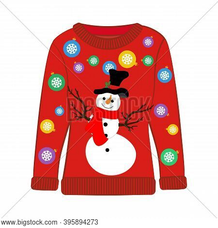 Christmas Ugly Sweater With Snowman Vector Illustration