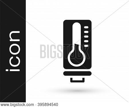 Black Meteorology Thermometer Measuring Heat And Cold Icon Isolated On White Background. Thermometer