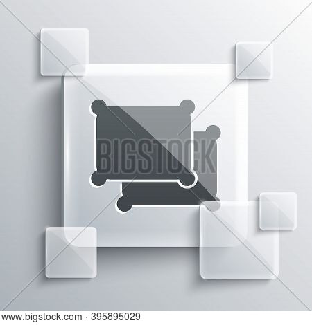 Grey Rectangular Pillow Icon Isolated On Grey Background. Cushion Sign. Square Glass Panels. Vector