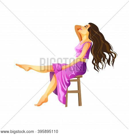 A Brunette With Long Hair Sits In A Purple Dress With Her Head Thrown Back. Brunette Sitting And Smi