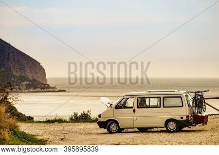 Broken Down Camper Van On Spanish Coast. Costa Del Sol, Andalusia Spain.