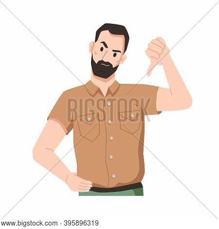 Disgruntled Bearded Male Character Expressing Disapproval Gesturing And Showing Thumbs Down. Annoyed