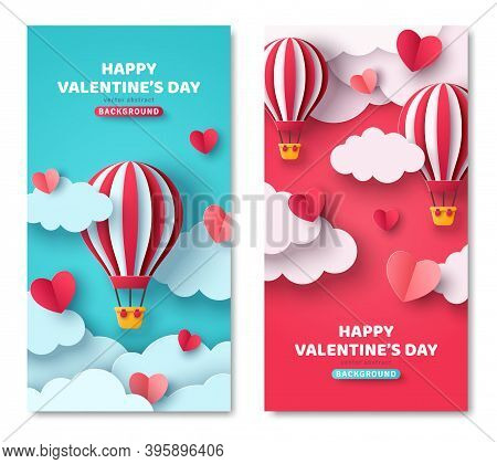 Set Of Vertical Banners With Hot Air Balloon, Hearts And Paper Cut Clouds. Romantic Design For Honey