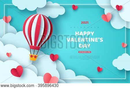 Hot Air Balloon Floating In Blue Sky And Paper Cut Clouds. Romantic Adventure For Honeymoon Or Weddi