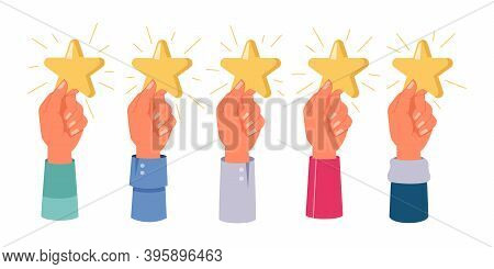 Hands Holding Stars, Rating, Feedback Isolated Set. Vector Five Star Mark, Positive Review, Satisfac