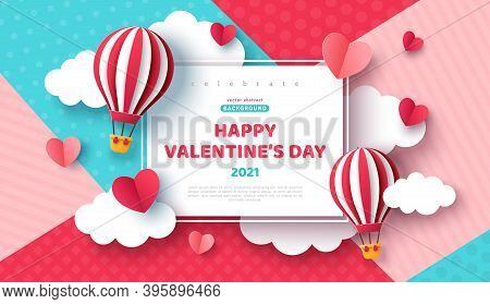 Air Balloon And Paper Cut Clouds And Heart With Square Frame On Geometric Pattern Background. Kids B
