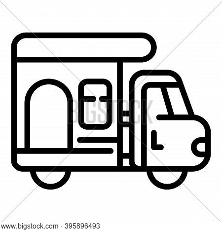 Motorhome Camp Trailer Icon. Outline Motorhome Camp Trailer Vector Icon For Web Design Isolated On W