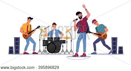Rock Music Band, Musicians Playing On Guitars, Drum Set And Singer With Microphone, Soloist Singing