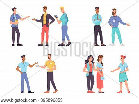 Set Promoters, Advertise And Telling People Isolated. Vector Man And Woman On Conference, Marketing