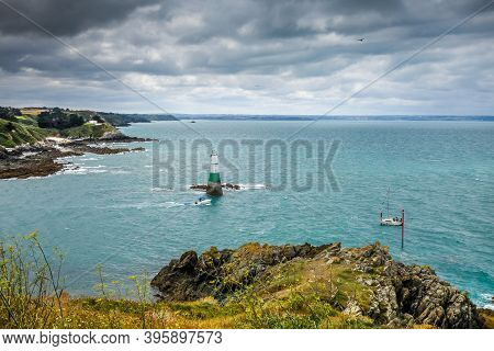 Lighthouse And Coast Landscape In Pleneuf Val Andre, Brittany, France