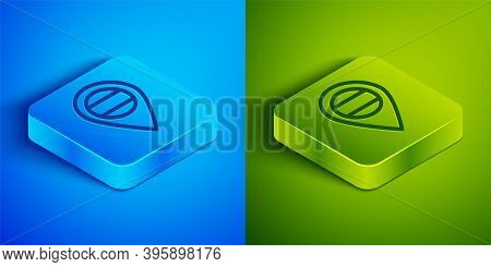 Isometric Line Location Russia Icon Isolated On Blue And Green Background. Navigation, Pointer, Loca