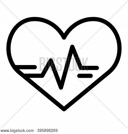 Heart Beat Pulse Icon. Outline Heart Beat Pulse Vector Icon For Web Design Isolated On White Backgro