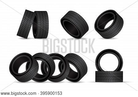 Realistic Tire Fitting Vector Design. Black Rubber Wheels Tyres For Car Service Station.