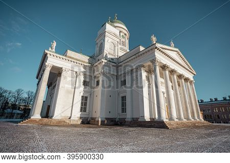 Senate Square, White Cathedral In Helsinki. High Quality Photo