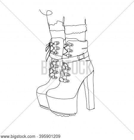 Bootie - One Line Drawing. Vector Illustration Continuous Line Drawing.