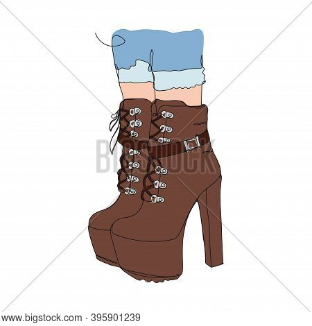 Bootie. Shoes - One Line Drawing. Vector Illustration Continuous Line Drawing.
