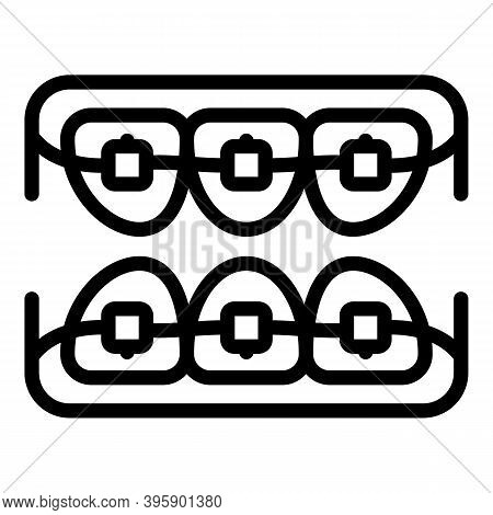 Denture Braces Icon. Outline Denture Braces Vector Icon For Web Design Isolated On White Background