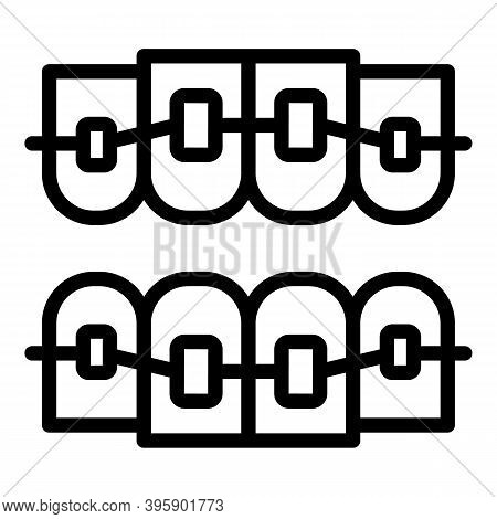Metal Dental Braces Icon. Outline Metal Dental Braces Vector Icon For Web Design Isolated On White B
